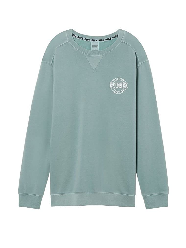 5012393080 Victoria s Secret PINK Soft Fleece Campus Crew Sweatshirt Succulent Green  (Medium) Oversize at Amazon Women s Clothing store