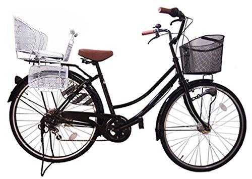 Lupinusルピナス 自転車 26インチ LP-266UA-KNR-S 軽快車 シマノ外装6段ギア 後子乗せシルバー オートライト ブラック チープ B073LQRX8X 新作からSALEアイテム等お得な商品満載