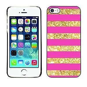 """For Apple iPhone 5 / iPhone 5S Case , Oro Líneas Patrón Bling Pink Glitter"""" - Diseño Patrón Teléfono Caso Cubierta Case Bumper Duro Protección Case Cover Funda"""