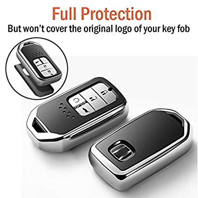 Uxinuo Compatible with Honda Key Fob Cover Case for Honda Accord Civic CR-V CRV Pilot EX-L Touring Smart Premium Soft TPU Full Cover Protection Smart Remote Keyless Key Fob Shell: Automotive
