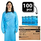 SAFE HANDLER Disposable Sleeve Gown | Open Back with Thumb Loops, 0.5 MIL, Blue, 100 Count