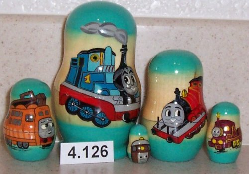 Thomas the Tank Russian Nesting Nested Stacking Doll. 5 Pieces / 4 in Tall #4.126 by Made in Russia by wtg1977-com  Shipment from Russia