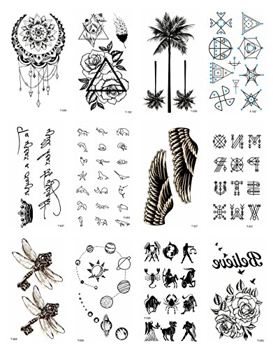 12 sheets black palm tree rose temporary tattoo Small Wrist Tattoos for Women halloween costume face -