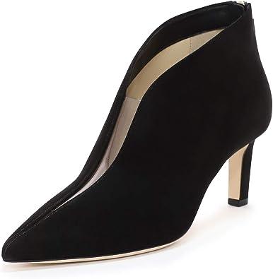 Nine Seven Womens Genuine Leather Pointed Toe Mid Stiletto Heel Handmade Elegant V Cut Ladies Pump Shoes