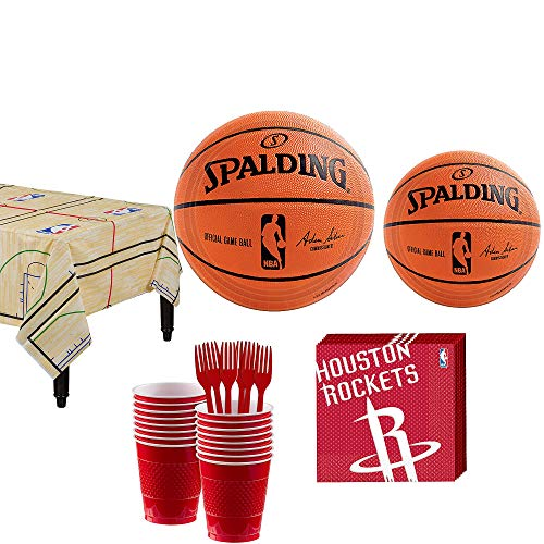 Party City Houston Rockets Party Kit 16 Guests, Includes Table Cover, Plates, Napkins and More