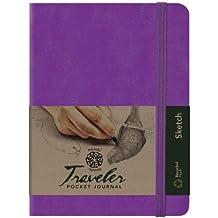 Pentalic Art Traveler Pocket Journal Sketch Book, 8-Inch by 6-Inch, Purple