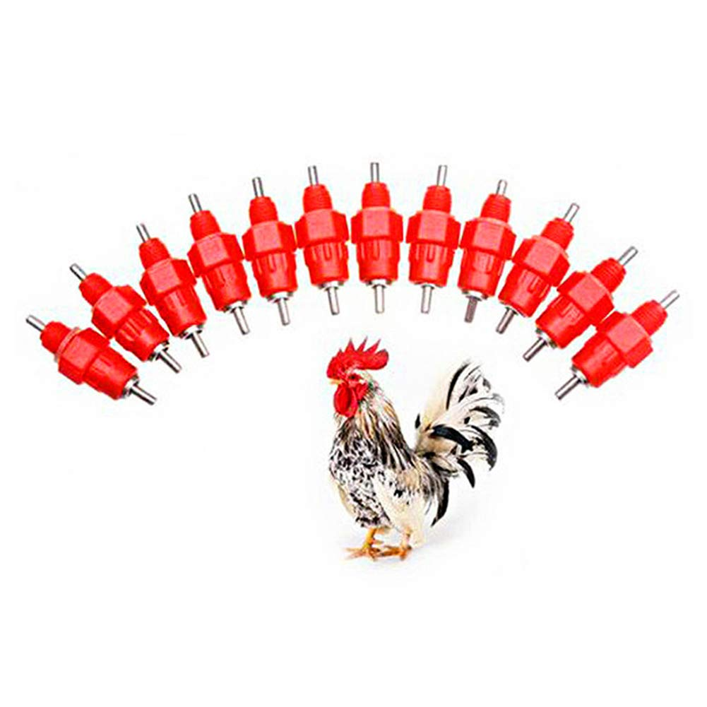 10* Water Drinking Nipples Duck Chicken Hen Feeding Screw-In Drinker Livestock