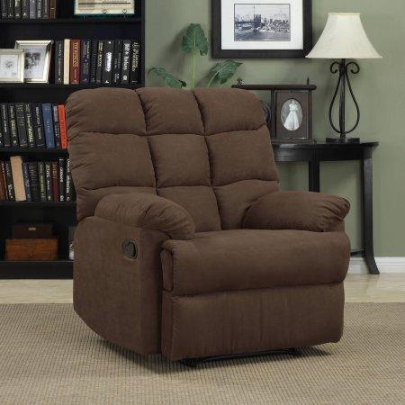 "ProLounger Wall Hugger Microfiber Biscuit Back Recliner Chair | 37.75""L x 34.75""W x 39.50""H (Dark Brown)"