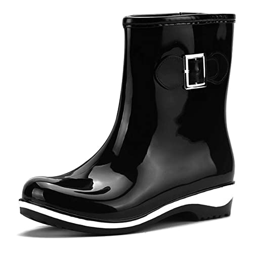 uirend Botas de Agua Alto Mujeres - Mujer Chelsea Wellington Botines Goma Nieve Lluvia Botas Festival Plataforma Botón Antideslizante Impermeable Zapatos: ...