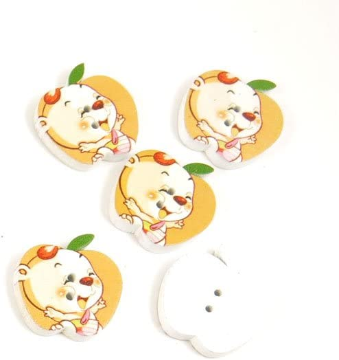 500 Pieces Sewing Sew On Buttons BT20225 Baby Bear Apple Shape Wooden Wood Arts Crafts Notions Supplies Fasteners