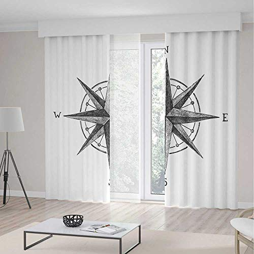 Decor Compass Complete Room - C COABALLA Blackout Curtains TT01 Compass Living Room Bedroom Décor Seamanship Hand Drawn Windrose with Complete 2 Panel Set 196W x 83LInches