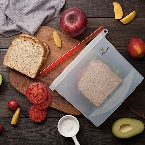 Homelux Theory Reusable Silicone Food Storage Bags | Sandwich, Sous Vide, Liquid, Snack, Lunch, Fruit, Freezer Airtight Seal | BEST for preserving and cooking | (Rainbow, 2L2M)