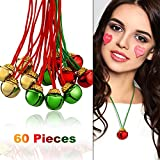 Gejoy 60 Pieces Christmas Bell Necklaces Christmas Holiday Necklaces for Christmas Party Decoration