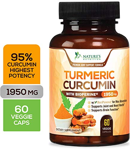 Turmeric Curcumin Highest Potency 95% Curcuminoids 1950mg with Bioperine Black Pepper for Best Absorption Made in USA Best Vegan Joint Pain Relief Turmeric Pills by Nature#039s Nutrition  60 Capsules