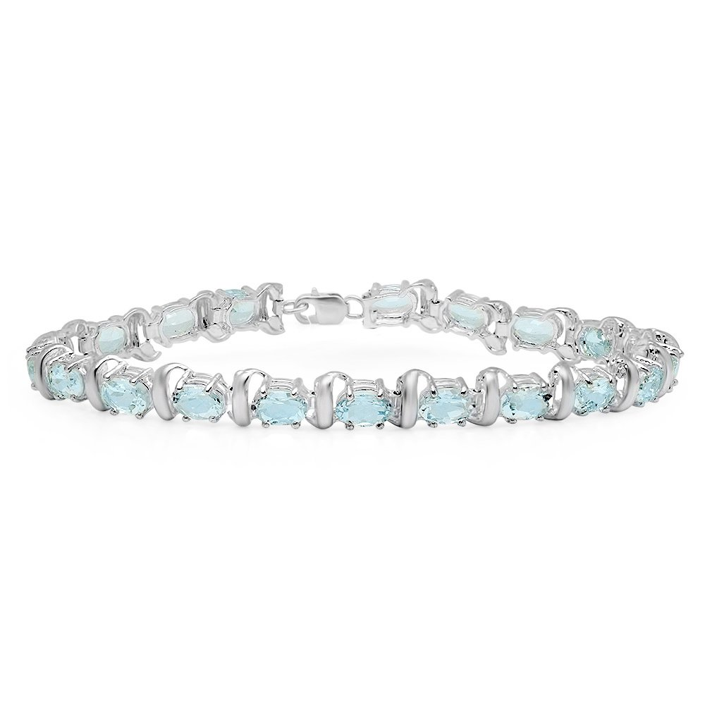 9.00 Carat (ctw) Sterling Silver Real Oval Cut Aquamarine Ladies Link Bracelet 9 CT