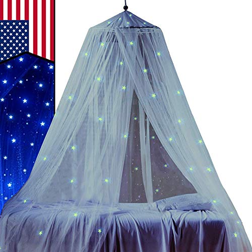 STZ Bed Canopy for Princess Girls Room Decorations with Fluorescent Stars Glow in Dark -Reading Nook for Kids-Canopy Bed Curtains-Hanging Tent-White