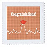 3dRose Beverly Turner Graduation Design - Heart Beat with Grad Cap on Graph Paper, Medical Theme, Peach - 20x20 inch quilt square (qs_262862_8)