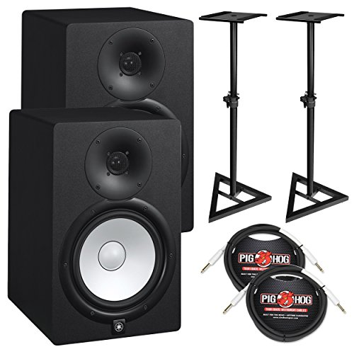 Yamaha HS8 Powered Studio Monitor Bundle with Two Monitors, Stands, and Cables