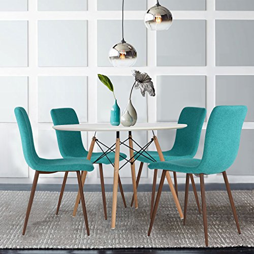 Set of 4 Dining Chairs Coavas Fabric Cushion Kitchen Chairs with Sturdy Metal Legs for Dining Room, Green by Coavas (Image #1)