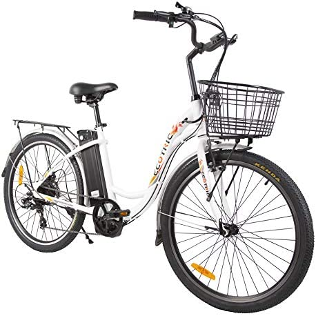 ECOTRIC Electric City Bike 26″ City Powerful Bicycle EBike 350W Motor 36V/10AH Moped (White) – Throttle & Pedal Assist; You Will Receive Two Packages