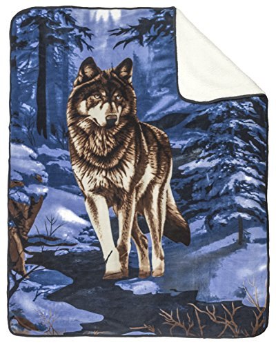 Camo Wildlife Series (Baby Wildlife Series Wolf Blue Soft Sherpa Blanket 30