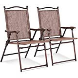 Set of 2 Patio Folding Sling Back Chairs Camping Deck Garden Beach Brown with Ebook