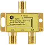 GE Digital 2-Way Coaxial Cable Splitter, 2.5 GHz 5-2500 MHz, RG6 Compatible, Works with HD TV, Satellite, High Speed…