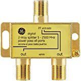GE Digital 2-Way Coaxial Cable Splitter, 2.5 GHz 5-2500 MHz, RG6 Compatible, Works with HD TV, Satellite, High Speed Internet
