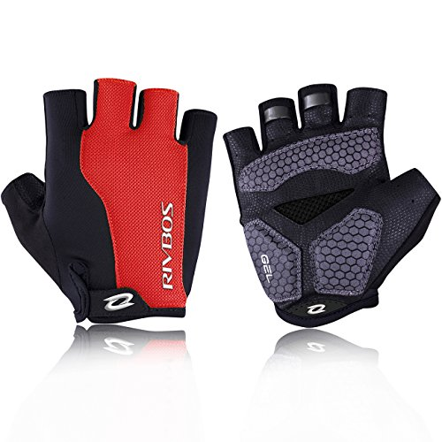 RIVBOS Bike Gloves Cycling Gloves Fingerless for Men Women with GEL Padding Breathable Mesh Fashion Design for Mountain Bicycle Motorcycle Riding Driving Sports Outdoors Exercise CHG002 (Red XL)