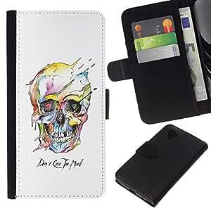 All Phone Most Case / Oferta Especial Cáscara Funda de cuero Monedero Cubierta de proteccion Caso / Wallet Case for LG Nexus 5 D820 D821 // Watercolor Skull White Death Robot
