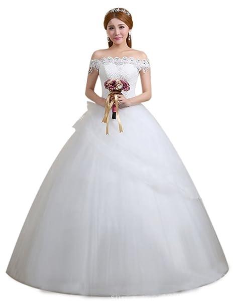 Eyekepper - Vestido de novia - corte imperio - Manga corta - Mujer blanco blanco X