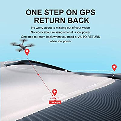TOPE GPS FPV RC Helicopter with 1080P Wide-Angle Camera Live Video Auto Return Home WiFi Motor Drone Brushless Quadcopter for Kids Beginner Long Fly Time Follow Me Function Foldable Arms ...
