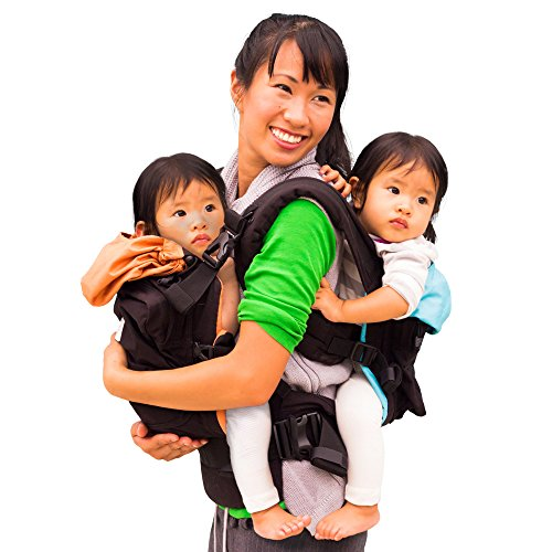 TwinGo Original Baby Carrier- Separates to 2 Single Carriers. Compact, Comfortable, 100% Cotton, and Adjustable. For Men, Women, Twins and Children Between 10-lbs and 45 lbs. (Black, Orange, Blue) For Sale