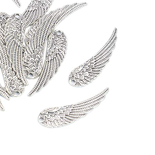 (Monrocco 20 Pack 2 Inch Large Silver Angel Wings Charms Pendants Bulk for Bracelet Jewelry Making)