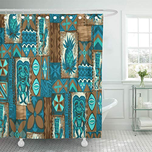 Semtomn Shower Curtain Hawaii Tiki Hawaiian Vintage Tapa Primitive Tropical Pineapple Tribal 72