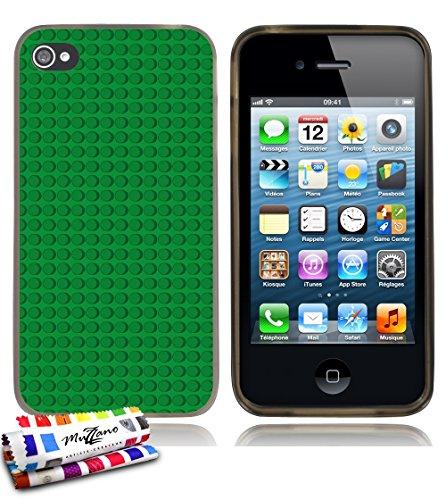 Ultraflache weiche Schutzhülle APPLE IPHONE 4 / IPHONE 4S [Green bricks] [Grau] von MUZZANO + STIFT und MICROFASERTUCH MUZZANO® GRATIS - Das ULTIMATIVE, ELEGANTE UND LANGLEBIGE Schutz-Case für Ihr APP