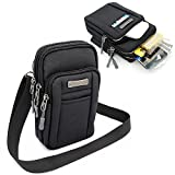 Leisure Nylon Cell Phone Small Shoulders Bag Crossbody Pouch Smartphone Cover Outdoor Pack for iPhone X iPhone 8 plus with Otterbox Samsung Galaxy S9 Plus and more - Black