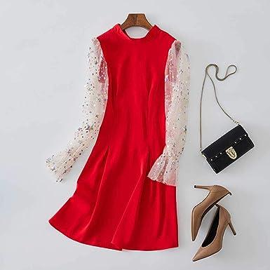 WEPL Red Dress Falda de Malla de Manga Larga con Costuras Finas ...