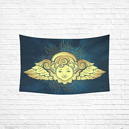 Jnseff Tapestry Gold Cherub Cute Winged Curly Smiling Tapestries Wall Hanging Flower Psychedelic Tapestry Wall Hanging Indian Dorm Decor for Living Room Bedroom ()