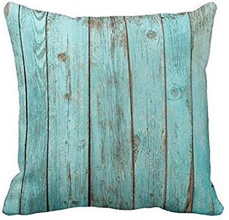 Leiacikl22 Turquoise Wood Teal Barn Wood Weathered Beach Polyester Pillow Cover 18 x 18 Inches