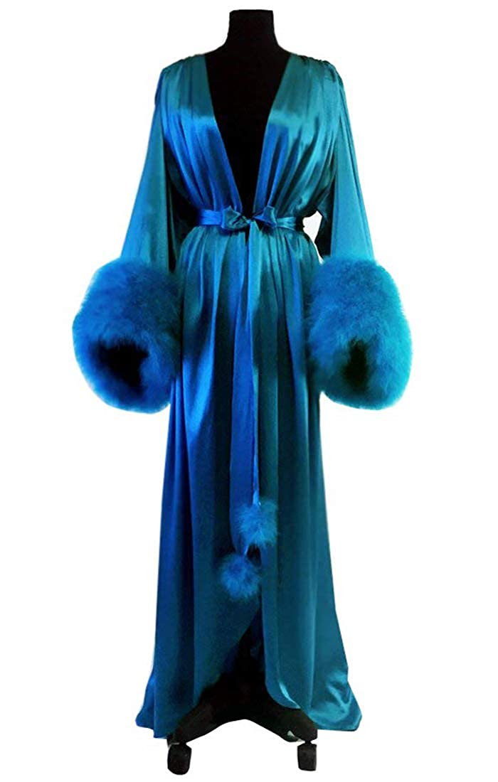 Royal bluee Michealboy Womens VNeck Satin Extra Long Silky Bathrobe Fur Cuffs Nightgown
