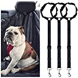 3 Packs Pet Dog Cat Safety Seat Belt – Adjustable Nylon Fabric Car Headrest Restraints Vehicle Seatbelts Harness