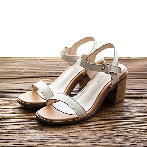 YCMDM donne di sandali di cuoio Tacchi alti casuali comode scarpe nuove di svago Primavera Estate , white , 40