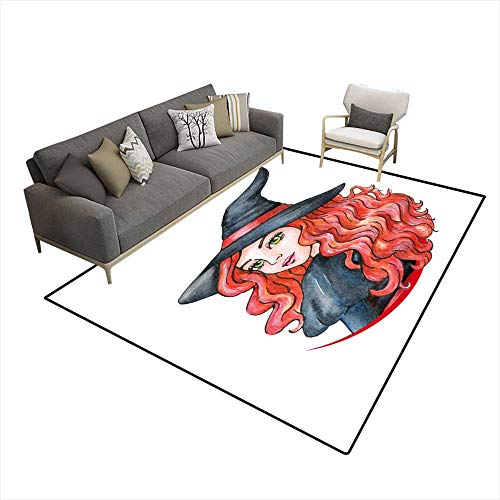 Room Home Bedroom Carpet Floor Mat Beautiful Young Girl Witch Halloween Costume Watercolor Illustration 5'x8' (W150cm x L240cm