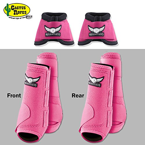 MED PINK RELENTLESS TREVOR BRAZILE FRONT REAR SPORT BELL BOOT 6 PACK HORSE LEG - Pink Horse Bell Boots