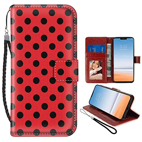 Wallet Case for LG G7 ThinQ (2018) (6.1 Inch) Red and Black Retro Vintage Pop Art Theme Old 60s 50s Rocker Inspired Bold Polka Dots Image Scarlet with Coin Slot -
