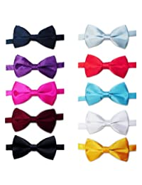 TOPTIE Mens Tuxedo Bow Tie Adjustable Neck Bowtie 10pc Mixed Lot Solid Color-set1