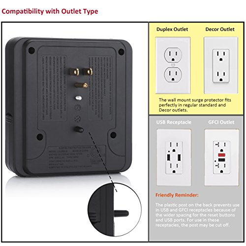 BESTTEN Multi Outlet Wall Tap Adapter Surge Protector with 4 USB Charging Ports (4.2A Total), 3 Outlet Multipliers and 2 Slide Out Phone Holders, 15A/125V/1875W, ETL Certified, Black by BESTTEN (Image #5)