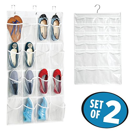 mDesign Cloth and Plastic Over the Door Shoe and Jewelry Organizers Closets - Set of 2, White/Clear by mDesign