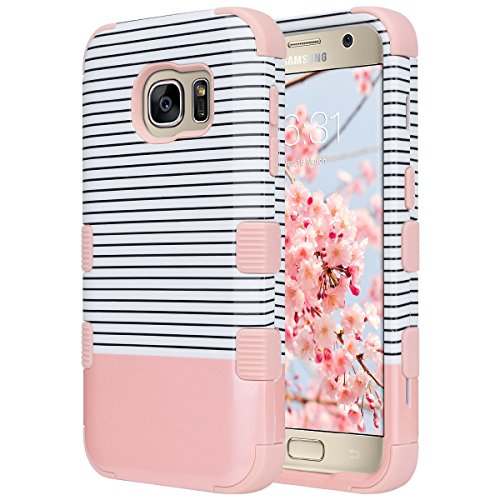 S7 Case, Galaxy S7 Case, ULAK 3 in 1 Hard PC+Soft Silicone Hybrid Dust Scratch Resistance Protective Cover for Samsung Galaxy S7 (Minimal Stripes Rose Gold) Will not Fit S7 Edge